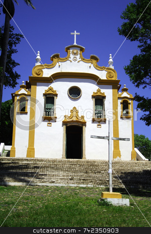 Yellow and White Church stock photo, A small church or chapel in Fernando de Noronha - Brazil. by Daniel Wiedemann