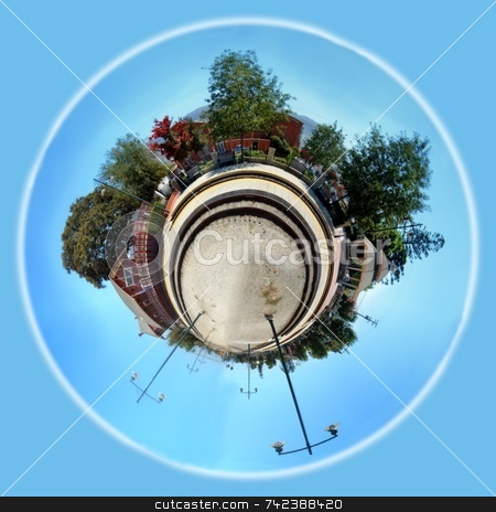 Planet Train Station stock photo, Panoramic 360 degree shot of th Santa Paula train station. by Henrik Lehnerer