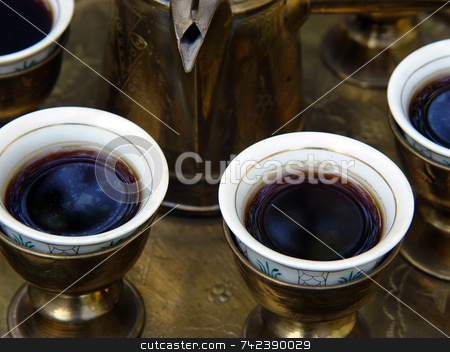 Turkish Coffee stock photo, Middle Eastern coffee Brass serving set by Jack Schiffer