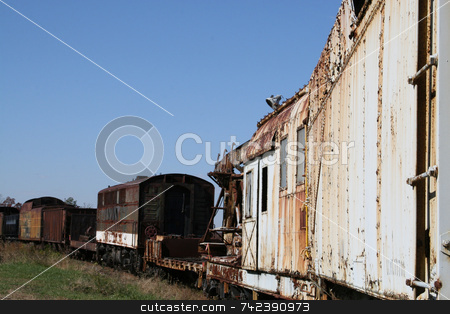 Old Train Cars stock photo, Old train cars out in the field with paint peeling and rust formation. Southeastern Railroad Museum, Duluth Ga by Jack Schiffer