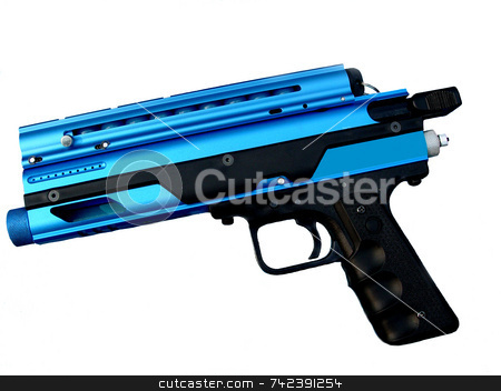 Paint Gun stock photo, Blue sport Paint gun isolated by Jack Schiffer
