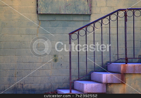 Grunge Look stock photo, Grungy  back ally steps by Jack Schiffer