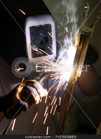 Fabricating stock photo, Welder at work joining metal by Jack Schiffer