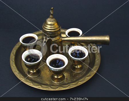Middle Eastern Coffee stock photo, The Turkish Coffee  Set brings to the table the oldest coffee drinking ritual: Coffee brewed in small pots called cezves and served in demitasse cups already sweetened. by Jack Schiffer