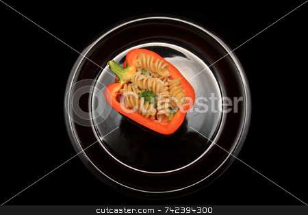 Stuffed Pepper stock photo, Stuffed pepper with noodles and  Rice broccoli by Jack Schiffer