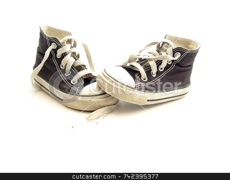 Little Sneakers stock photo, Small Toddler sports sneakers  Isolated by Jack Schiffer
