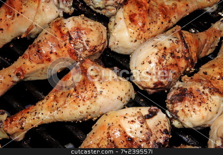 Grilled Legs stock photo, Grilled seasoned chicken legs on the barbeque by Jack Schiffer