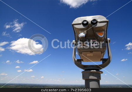 Pay To View stock photo, Coin operated binocular to look at view by Jack Schiffer
