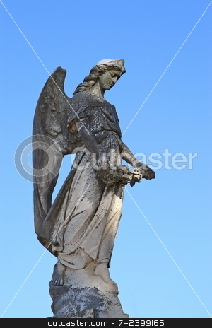 Angel stock photo, Angel statue isolated on blue by Jack Schiffer