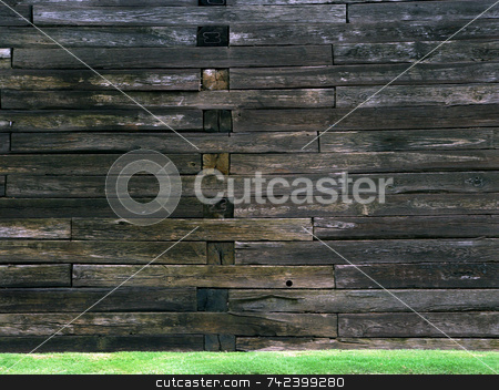 Wooden wall stock photo, Wooden wall partition holding back alot of dirt by Jack Schiffer