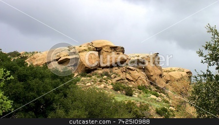 Santa Susana Mountains 6343 stock photo, Santa Susana Mountains is a tourist destination for fans of old western movies. by Henrik Lehnerer