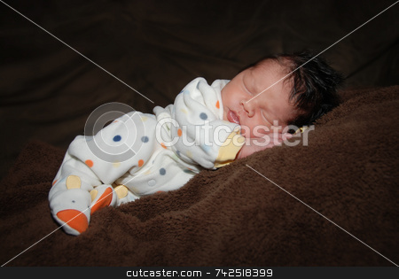 Sleepy time stock photo, Dark-haired newborn sleeping - 1 month old by Jodi Baglien Sparkes