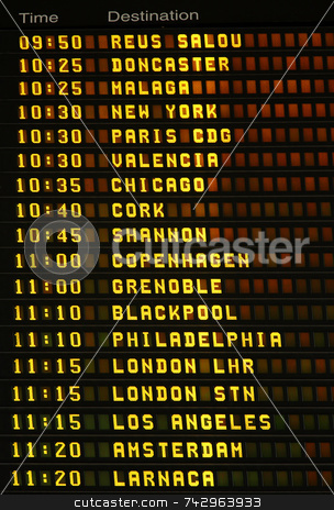 An electronic airport airplane departures board. stock photo, An electronic airport airplane departures board with times and destinations. by Stephen Rees