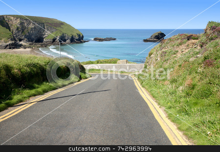 Narrow steep road to Portreath, Cornwall, UK. stock photo, Narrow steep road to Portreath, Cornwall, UK. by Stephen Rees