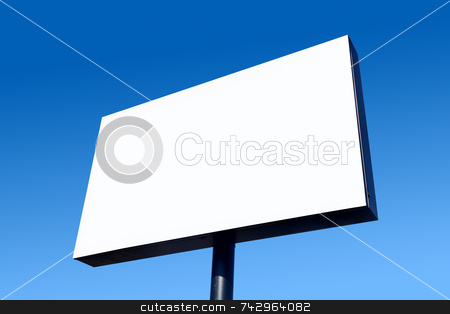 White blank billboard and a blue sky. stock photo, White blank billboard and a blue sky. by Stephen Rees