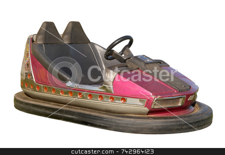 An old funfair bumper car. stock photo, An old funfair bumper car, also know as a dodgem, isolated on a white background. by Stephen Rees