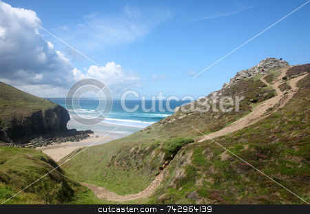 Above Chapel Porth on the Cornish coast path. stock photo, Above Chapel Porth on the Cornish coast path. by Stephen Rees
