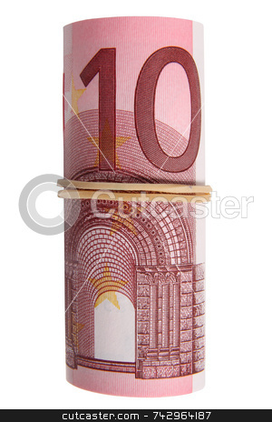 A roll of 10 Euro notes with an elastic band wrapped around. stock photo, A roll of 10 Euro notes with an elastic band wrapped around. by Stephen Rees