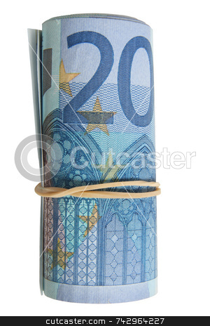 A roll of 20 Euro notes with an elastic band wrapped around. stock photo, A roll of 20 Euro notes with an elastic band wrapped around. by Stephen Rees