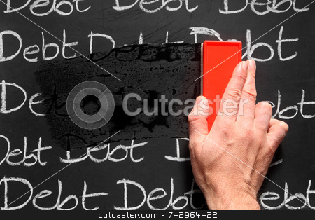 Wiping debts away. stock photo, Wiping debts away. by Stephen Rees