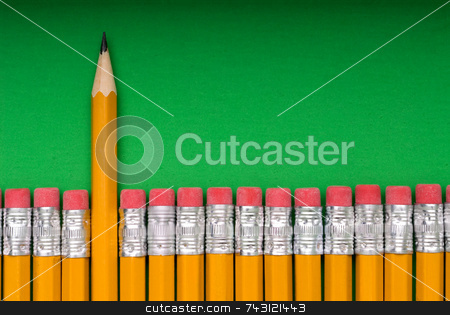 The Sharp One - on green stock photo, A sharp pencil amid a number of pencils eraser end up. Concept of a sharp or different individual or object amid many similar objects by Vince Clements