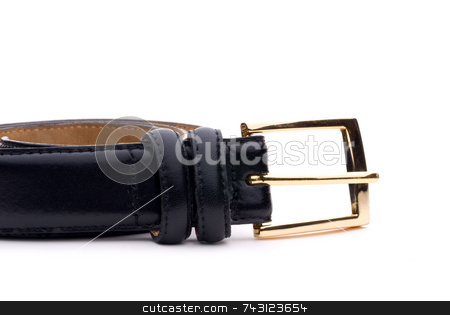 Closeup of a black belt with a gold buckle stock photo, Closeup of a black belt with a gold buckle by Vince Clements