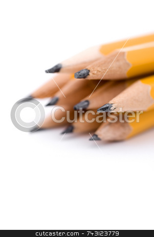 Macro of pencils stock photo, Shallow focus macro of pencils by Vince Clements