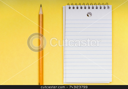 Pencil and blank notebook on yellow stock photo, A sharp pencil and a blank notebook on a bright yellow background. by Vince Clements