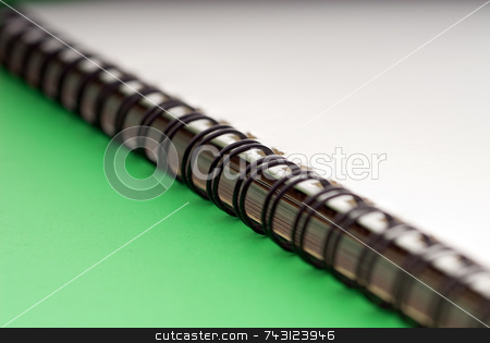 Macro of a ring bound document - on green stock photo, Macro of a white spiral ring bound document - on a green background by Vince Clements