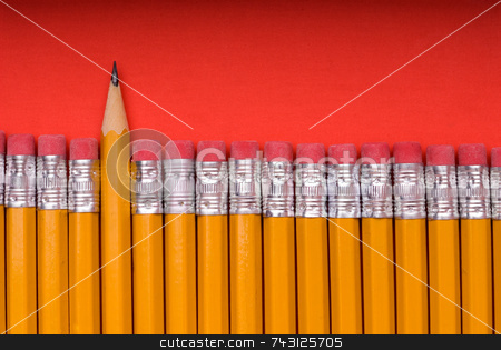 The Sharp One - on red stock photo, A sharp pencil amid a number of pencils eraser end up. Concept of a sharp or different individual or object amid many similar objects by Vince Clements