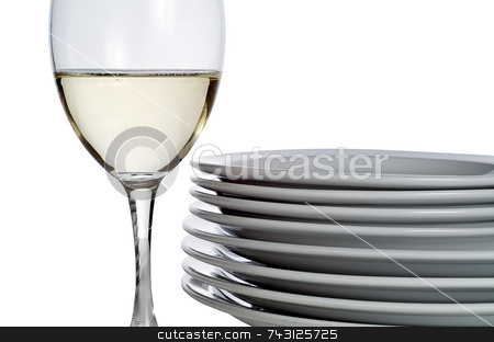 Wine glass and plates stock photo, A glass of white wine beside a stack of white plates - isolated on white. Could be before or after serving a meal either at home or at a restaurant. by Vince Clements