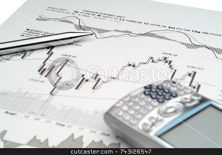 Stock Market Analysis stock photo, Business image of stock market chart analysis by Vince Clements