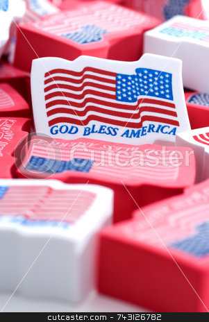 God Bless America stock photo, Closeup of foam American flags by Vince Clements