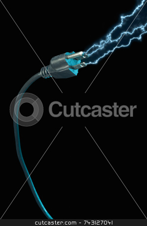 Power plug - electric sparks stock photo, Blue electric sparks coming from a power plug on a black background by Vince Clements