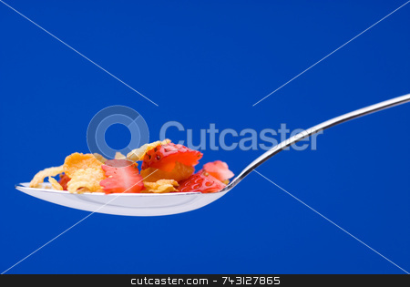 Cereal with strawberries on a spoon stock photo, Closeup of cereal with strawberries on a spoon on a stricking blue background by Vince Clements