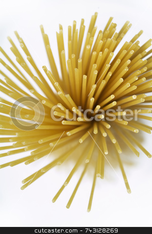 Looking down on Pasta stock photo, Semi-abstract close-up looking down on a bundle of pasta by Vince Clements