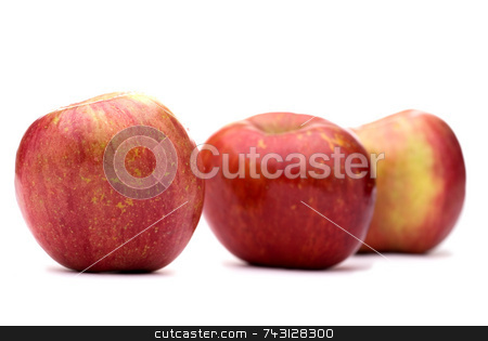 Fresh apples on white stock photo, Fresh red apples on a white background with shallow focus by Vince Clements
