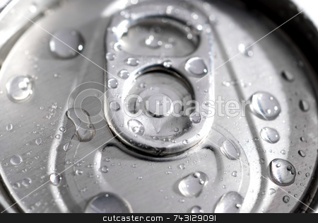 Macro of a can of soda stock photo, SHallow focus macro of a can of soda with dew from ice by Vince Clements