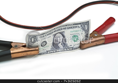 Jump start the economy stock photo, Booster cables attached to a US dollar to depict the concept of jump-starting or boosting the economy or dollar by Vince Clements