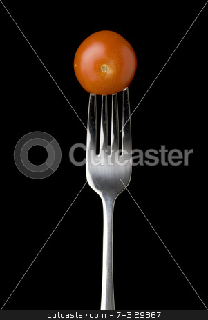 Fresh cherry tomato on a silver for against a black background stock photo, Fresh cherry tomato on a silver for against a black background by Vince Clements
