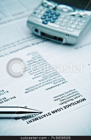 Mortgage statement stock photo, Mortgage statement blue filter by Vince Clements