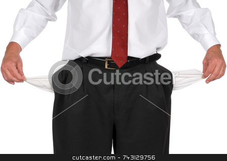 Businessman with no money stock photo, Businessman in blank pants and a white shirt pulling out empty pockets to show he is broke by Vince Clements