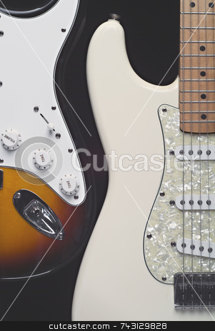 Two electric guitars stock photo, Two electric guitars with thier
