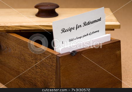 Recipe for retirement stock photo, A concept of a recipe for retirement contained on a recipe card in a wooden recipe box by Vince Clements