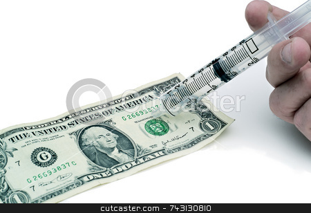 Injecting the dollar stock photo, Concept of injecting life into the dollar or economy by Vince Clements