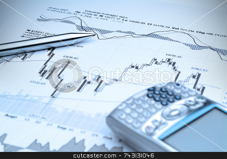 Stock Market Analysis-Blue tint stock photo, Business image of stock market chart analysis - with blue tinit by Vince Clements