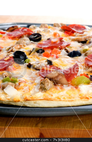 Pizza stock photo, A closeup of freshly cooked pizza by Vince Clements