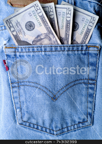 Money in my pocket stock photo, Close up of money in a jeans back pocket by Vince Clements