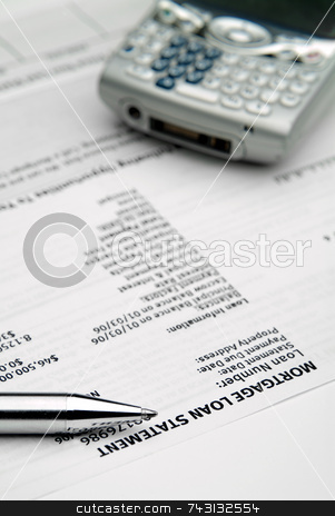 Mortgage loan statement stock photo, Mortage statement - late payment? Blue tint by Vince Clements