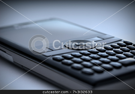 High tech cell phone - blue stock photo, Shallow focus closeup of a high tech compact Smart Phone in a blue tint by Vince Clements
